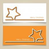 Christmas banners in gold and white, with simple continuous line and drop shadow  creating a Christmas star. t