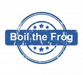 Boil the frog business concept stamp with stars isolated on a white background.