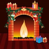 illustration of christmas decoration around fire place