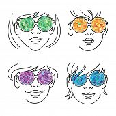Girls faces in colorful glasses. Set.