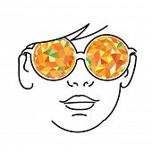 Face with yellow kaleidoscopic glasses