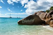 Seascape at Anse Lazio in Praslin Island, Seychelles. A Perfect Tourist Destination to Discover poster