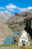White buddhist chorten (small stupa) in Kargiak valley, Zanskar, Ladakh, India