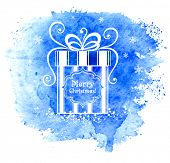 Merry Christmas gift box. Vector greeting card.