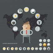 Set of flat design concept images for infographics, business, web, service support