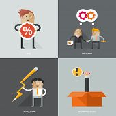 Set of flat design concept images for infographics, business, web, partnership, creative ideas, searching