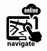 black navigate icon