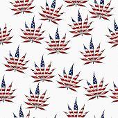 Marijuana In The Usa Leaf Pattern Repeat Background