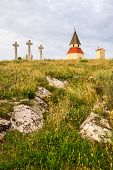 picture of cross hill  - Small Church Chapel and Jesus Christ Cross on the Hill at Sunset on Calvary Nitra Slovakia - JPG