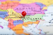 Red Push Pin On Map Of Bulgaria