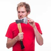 Mad Man Holding A Sharp Ax