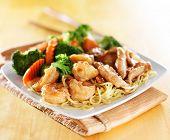 chicken and shrimp teriyaki on noodles