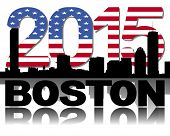 Boston skyline 2015 flag text illustration