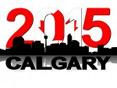 Calgary skyline 2015 flag text illustration