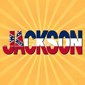 Jackson flag text with sunburst illustration