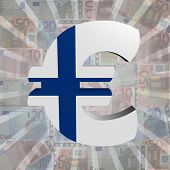Euro symbol with Finnish flag on Euro currency illustration