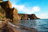 picture of grotto  - Sea landscape with grotto in the rock - JPG
