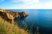pic of grotto  - Sea landscape with grotto in the rock - JPG