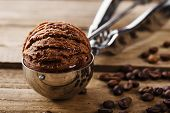 image of chocolate spoon  - Chocolate coffee ice cream ball scoop spoon - JPG