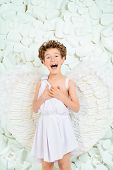 image of cupid  - Portrait of a lovely emotional little boy in a costume of angel - JPG