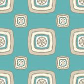 pic of blue things  - Abstract Seamless pattern with square on beige blue in  Ethnic style for decorate different things - JPG
