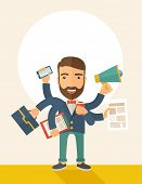 stock photo of multitasking  - A young happy hipster Caucasian with beard has six arms doing multiple office tasks at once as a symbol of the ability to multitask - JPG
