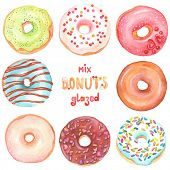 foto of donut  - Collection of watercolor colorful donuts glazed - JPG