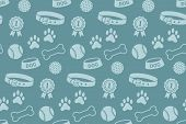stock photo of paw  - Seamless pattern with dog - JPG