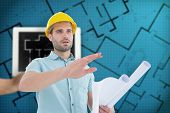 image of blueprints  - Architect with blueprint gesturing on white background against tablet displaying blueprint - JPG