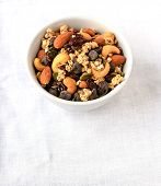 picture of dry fruit  - Trail mix of dry fruits and chocolate chips useful during hiking or trekking - JPG