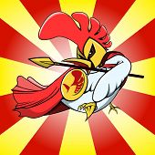 picture of spears  - chicken warrior with his spear and shield on sunshine background - JPG