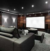 picture of home theater  - Interior of a new modern luxury home theater - JPG
