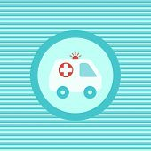 image of ambulance car  - Ambulance car color flat icon vector graphic illustration - JPG