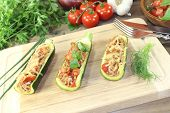 picture of ground-beef  - delicious stuffed zucchini with ground beef and cheese - JPG