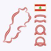 stock photo of nationalism  - Outline map of Lebanon - JPG
