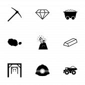 picture of gold mine  - Vector black mining icons set on white background - JPG