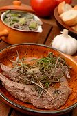 image of spring lambs  - Filet of lamb with fried mushrooms and spring onions - JPG