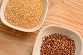 picture of flaxseeds  - Amaranth and flaxseed in a ceramic bowl - JPG