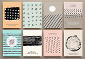 image of dots  - Set of Vintage Creative Cards with Hand Drawn Hipster Textures Made with Ink - JPG