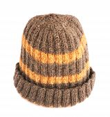 stock photo of knitted cap  - Brown knitted head cap with the orange stripes - JPG