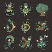 image of leprechaun  - Set of illustrations for St - JPG