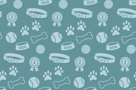 stock photo of toy dog  - Seamless pattern with dog - JPG