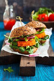 picture of veggie burger  - Veggie carrot burger with avocado - JPG