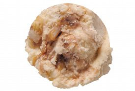 picture of ijs  - Scoop of caramel ice cream on white background with clipping path - JPG