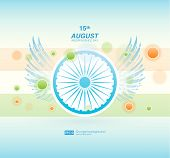 stock photo of indian independence day  - Indian Independence Day background with Ashoka wheel - JPG