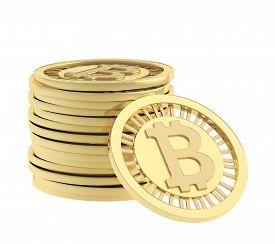 pic of bit coin  - Stack of golden bitcoin peer - JPG