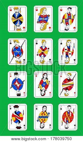 set of beautiful designer playing cards of all suits.
