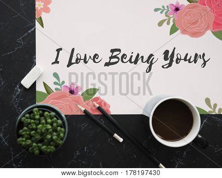 Love Fondness Flower Boarder Card Concept
