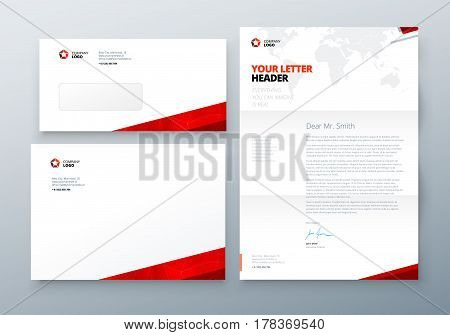 Envelope DL, C5, Letterhead. Red Corporate business template for envelope and letter. Layout with modern triangle elements and abstract background. Creative vector concept picture