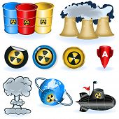 stock photo of nuke  - A collection of nine different nuke icons - JPG